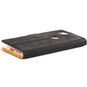 Vintage Black Leather Wallet - Google Pixel 2 - Snakehive