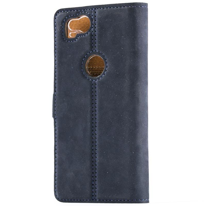 Vintage Navy Leather Wallet - Google Pixel 2 - Snakehive