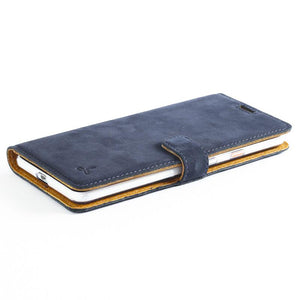 Vintage Navy Leather Wallet - Google Pixel 2 XL - Snakehive