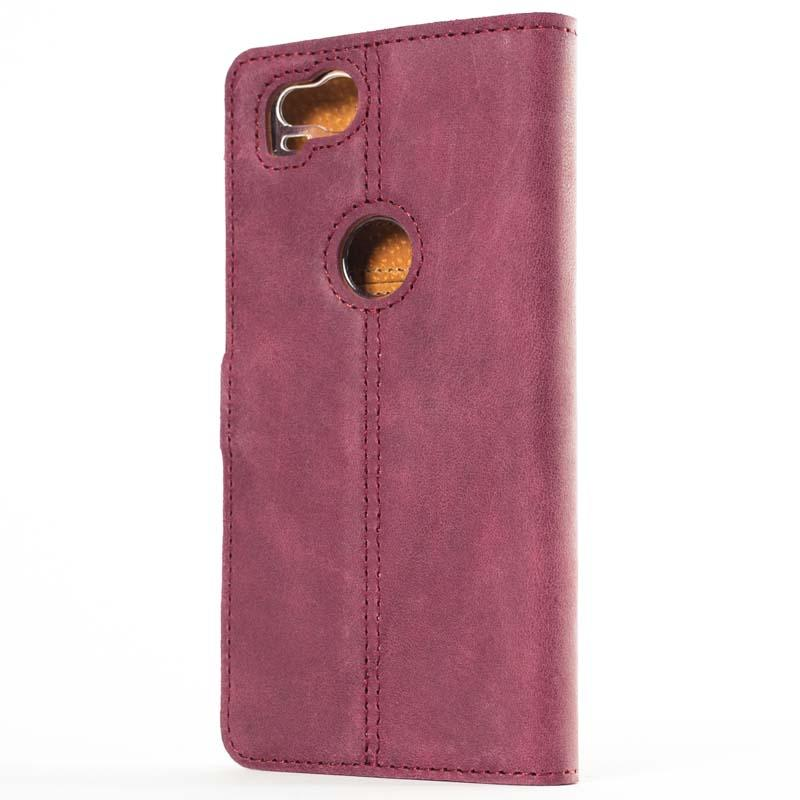 Vintage Plum Leather Wallet - Google Pixel 2 - Snakehive
