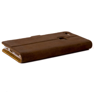 Vintage Chestnut Brown Leather Wallet - Huawei P10 Lite - Snakehive
