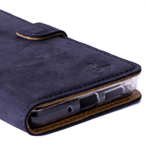 Vintage Navy Leather Wallet - Huawei P10 Lite - Snakehive