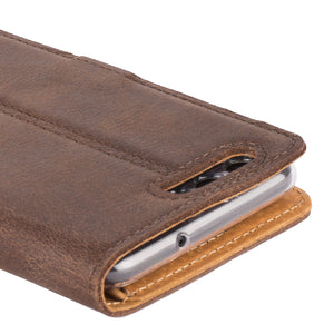 Vintage Chestnut Brown Leather Wallet - Huawei P10 - Snakehive