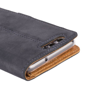 Vintage Navy Leather Wallet - Huawei P10 - Snakehive