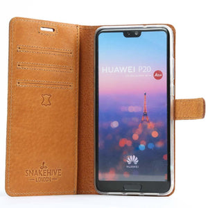 Vintage Plum Leather Wallet - Huawei P20 - Snakehive
