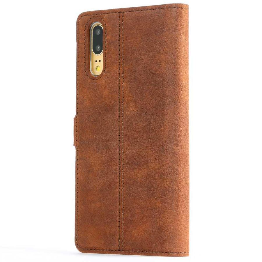 Vintage Chestnut Brown Leather Wallet - Huawei P20 - Snakehive