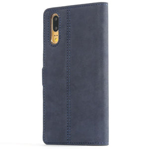 Vintage Navy Leather Wallet - Huawei P20 - Snakehive