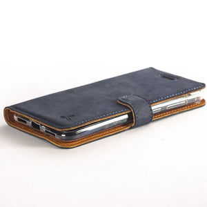Vintage Navy Leather Wallet - Huawei P8 Lite (2017) - Snakehive