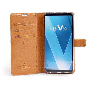 Vintage Black Leather Wallet - LG V30 - Snakehive