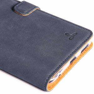Vintage Navy Leather Wallet - LG V30 - Snakehive