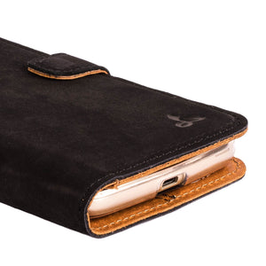 Vintage Black Leather Wallet - Motorola Moto G5 - Snakehive