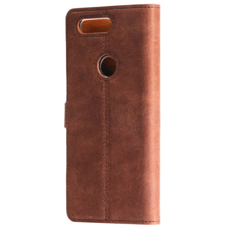 Vintage Chestnut Brown Leather Wallet - OnePlus 5T - Snakehive