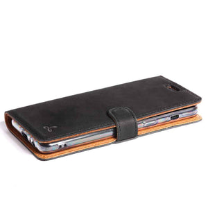 Vintage Black Leather Wallet - Samsung Galaxy A8 (2018) - Snakehive