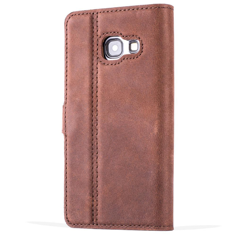 Vintage Chestnut Brown Leather Wallet - Samsung Galaxy A3 (2017) - Snakehive