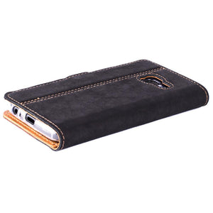 Vintage Two Tone Black/Brown Leather Wallet - Samsung Galaxy A3 (2017) - Snakehive
