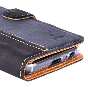 Vintage Two Tone Black/Navy Leather Wallet - Samsung Galaxy A3 (2017) - Snakehive