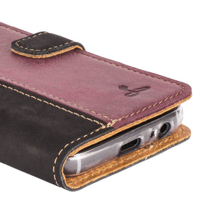 Vintage Two Tone Black/Plum Leather Wallet - Samsung Galaxy A3 (2017) - Snakehive