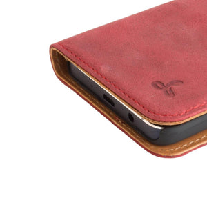 Vintage Burgundy Leather Wallet - Samsung Galaxy A3 (2015) - Snakehive