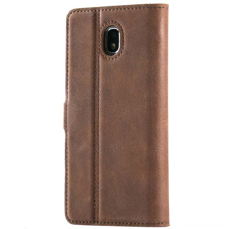 Vintage Chestnut Brown Leather Wallet - Samsung Galaxy J3 (2017) - Snakehive