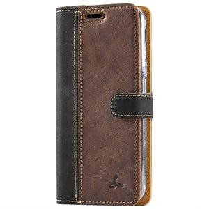 Vintage Black / Chestnut Brown Leather Wallet - Samsung Galaxy J3 (2017) - Snakehive