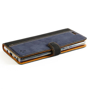 Vintage Two Tone Black/Navy Leather Wallet - Samsung Galaxy Note 8 - Snakehive
