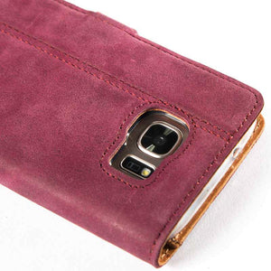 Vintage Plum Leather Wallet - Samsung Galaxy S7 - Snakehive