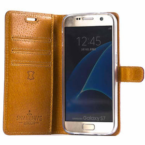 Vintage Chestnut Brown Leather Wallet - Samsung Galaxy S7 - Snakehive