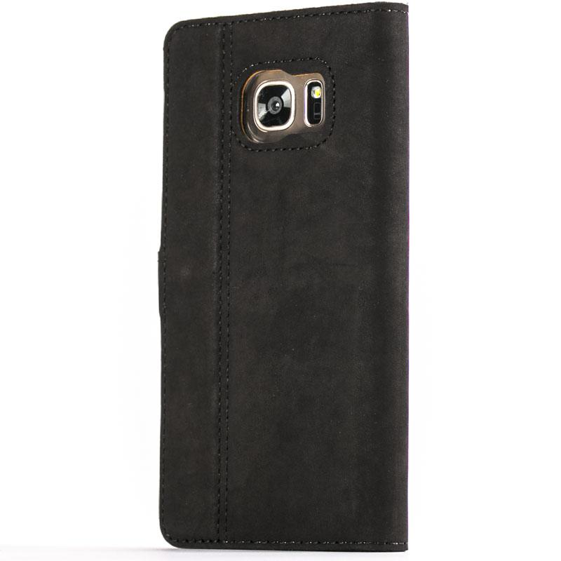 Vintage Black Leather Wallet - Samsung Galaxy S7 Edge - Snakehive