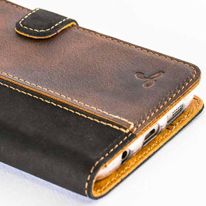 Vintage Two Tone Black/Brown Leather Wallet - Samsung Galaxy S7 Edge - Snakehive