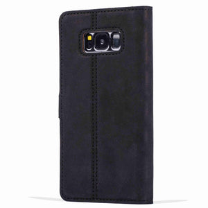 Vintage Black Leather Wallet - Samsung Galaxy S8 - Snakehive