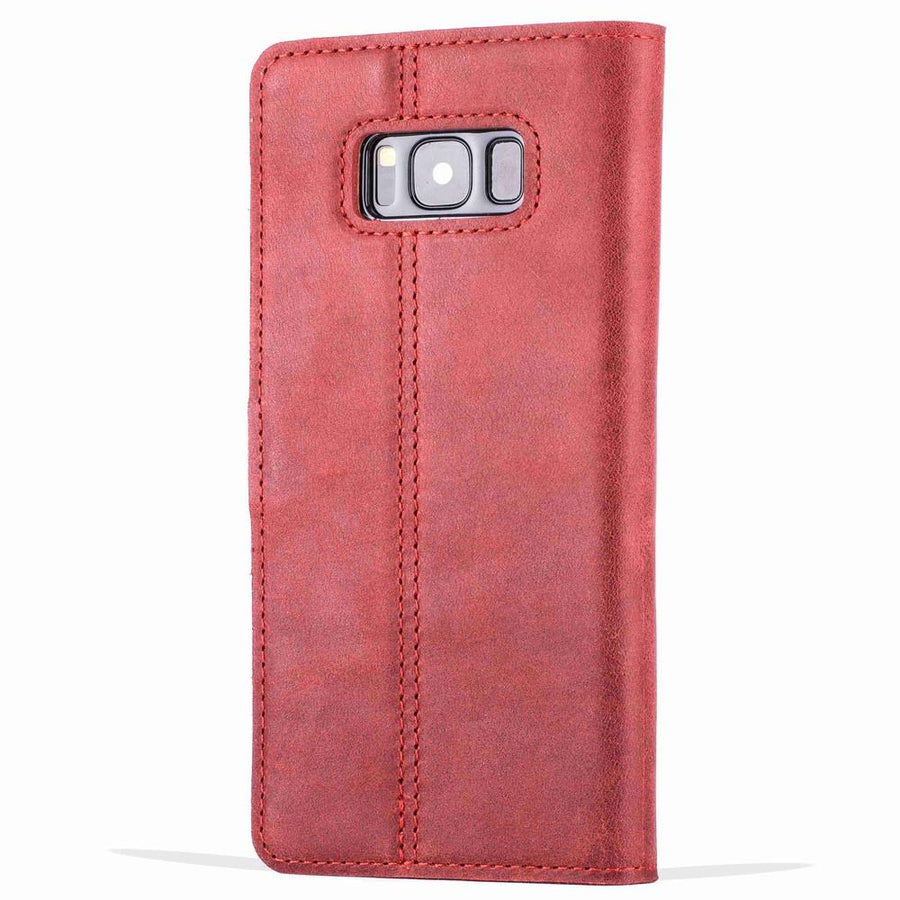 Vintage Burgundy Leather Wallet - Samsung Galaxy S8 - Snakehive