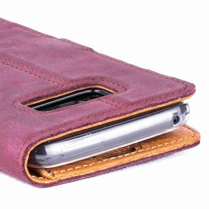 Vintage Plum Leather Wallet - Samsung Galaxy S8 - Snakehive