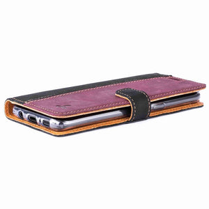 Vintage Two Tone Black/Plum Leather Wallet - Samsung Galaxy S8 - Snakehive