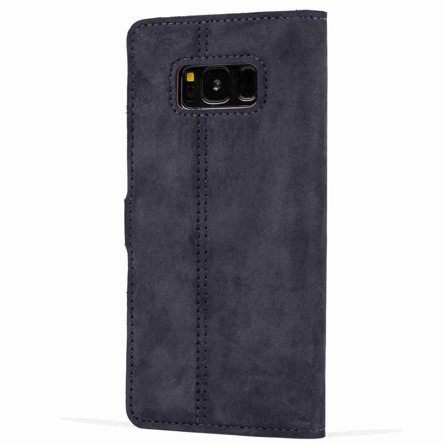 Vintage Navy Leather Wallet - Samsung Galaxy S8 - Snakehive