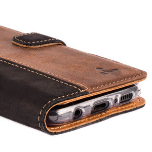 Vintage Two Tone Black/Brown Leather Wallet - Samsung Galaxy S8 - Snakehive