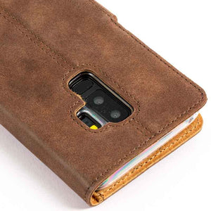 Vintage Chestnut Brown Leather Wallet - Samsung Galaxy S9 Plus - Snakehive