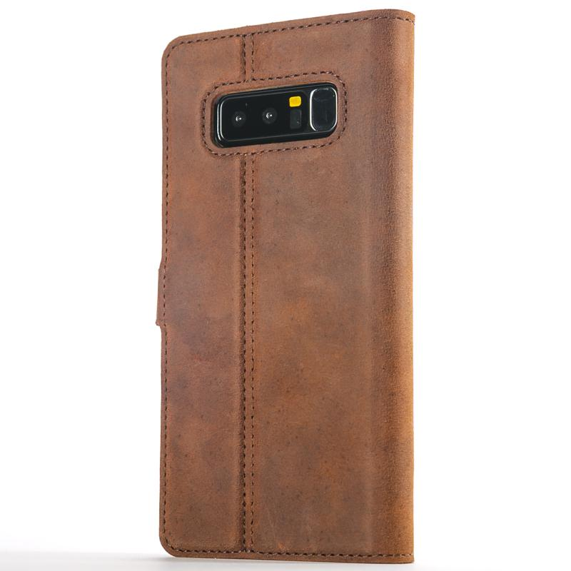 Vintage Chestnut Brown Leather Wallet - Samsung Galaxy Note 8 - Snakehive