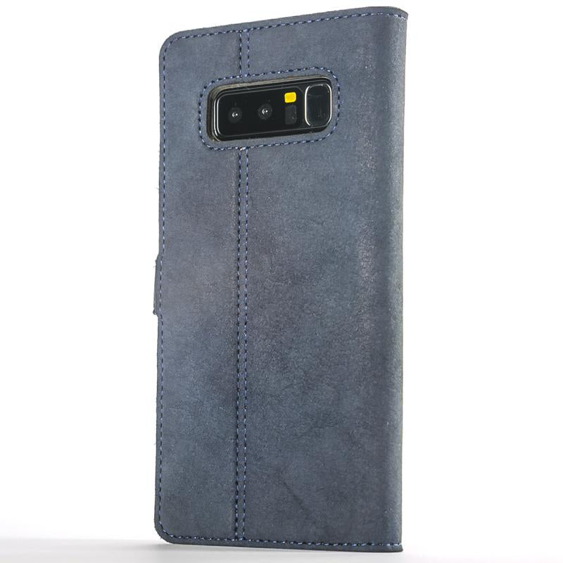 Vintage Navy Leather Wallet - Samsung Galaxy Note 8 - Snakehive