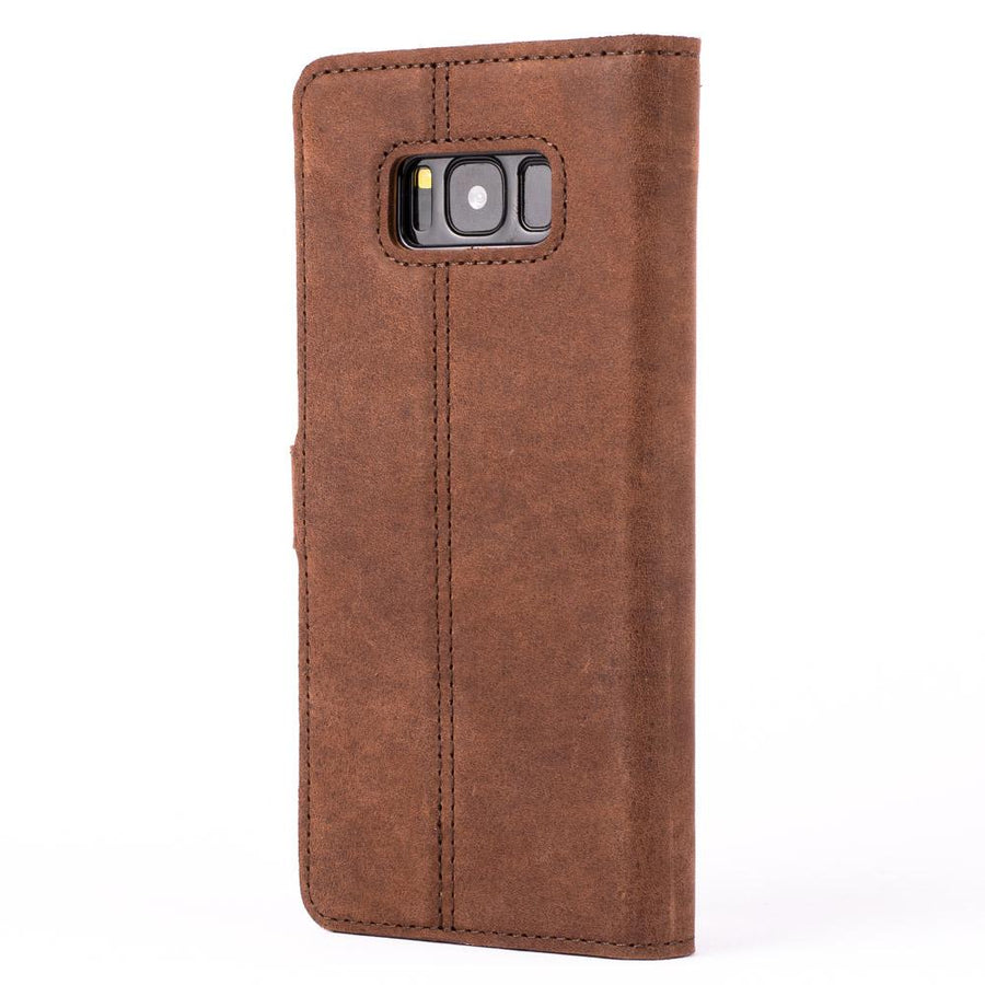 Vintage Chestnut Brown Leather Wallet - Samsung Galaxy S8 - Snakehive