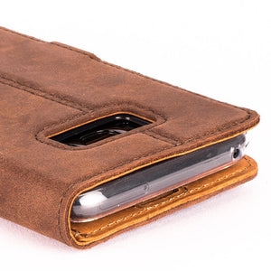 Vintage Chestnut Brown Leather Wallet - Samsung Galaxy S8+ (Plus) - Snakehive