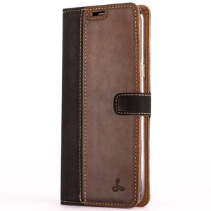 Vintage Two Tone Black/Brown Leather Wallet - Samsung Galaxy S8+ (Plus) - Snakehive