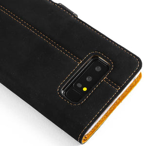 Vintage Two Tone Black/Brown Leather Wallet - Samsung Galaxy Note 8 - Snakehive