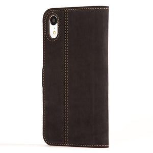 Vintage Funda de cuero	Negra y ciruela - Apple iPhone XR