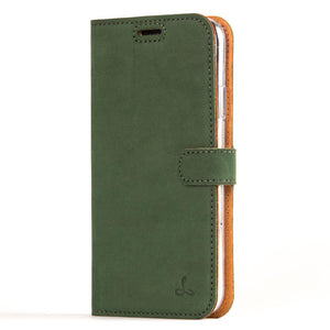 iPhone XR green leather wallet case front