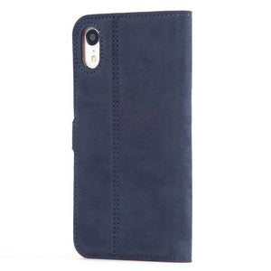 Vintage Leather Case Navy - Apple iPhone XR