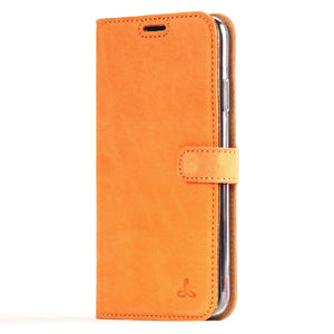 Vintage Funda de cuero	Naranja - Apple iPhone XS Max