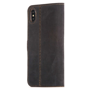 Vintage Funda de cuero	Negra y azul - Apple iPhone XS Max