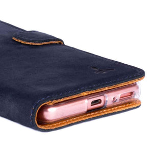 Vintage Navy Leather Wallet - Sony Xperia XA - Snakehive
