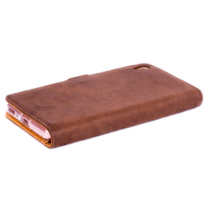 Vintage Chestnut Brown Leather Wallet - Sony Xperia XA - Snakehive