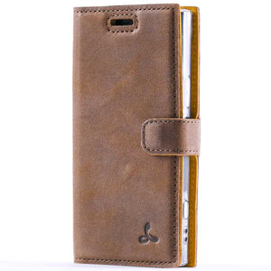 Vintage Chestnut Brown Leather Wallet - Sony Xperia XZ1 Compact - Snakehive
